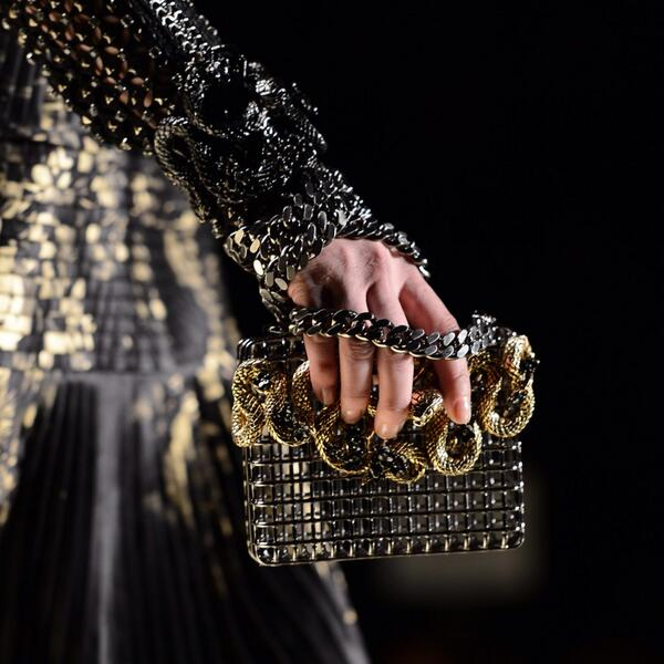 #RobertoCavalli FW13: the clutches are kept in metallic cages and sculpted with moths, snakes, roses. http://t.co/9vOZCl9evw