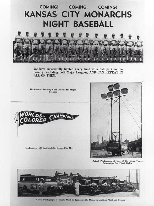 RT @MLBcathedrals: The Negro League's KC Monarchs toured with portable lights, starting in 1930. Five years before MLB. @nlbmprez http://t.co/y9GgRD8etD