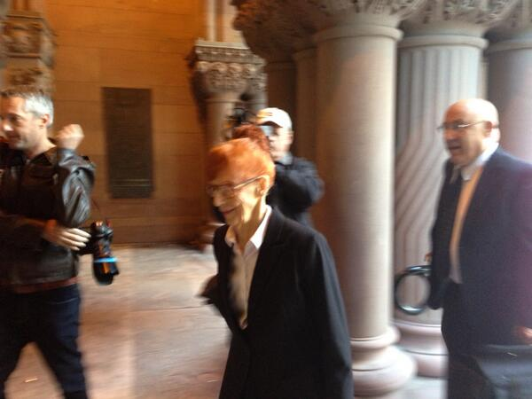 Charlsie Agro (@CBCharlsie): With a smile on her face 89 year old Audrey Tobias walks into court - ready to hear a judge's decision #sl http://t.co/hvB6TGjHD9