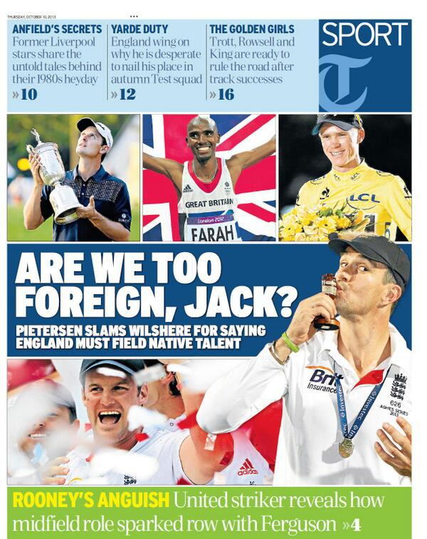 BWKf1ioCAAA3vRH Thursdays back pages slaughter Jack Wilshere following Twitter spat with Kevin Pietersen