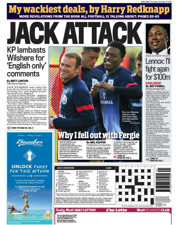 BWKiZoICcAAklJ4 Thursdays back pages slaughter Jack Wilshere following Twitter spat with Kevin Pietersen