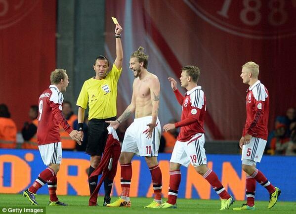 BWVAVGLCAAAG441 Arsenal striker Nicklas Bendtner scores 2 for Denmark v Italy   individual highlights