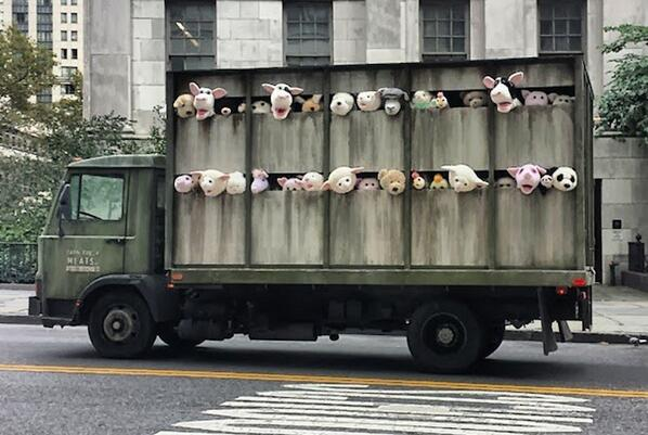 Banksy's Disturbing Stuffed Animals Truck Roams New York http://t.co/0NK8OLRVTv
