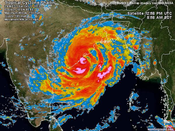 Our powerful world - I wish everyone resilience and luck today as this huge typhoon Phailin roars into India. http://t.co/k0LTSI11us