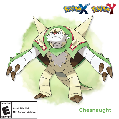 Chespin's final evolved form has been revealed! Meet Chesnaught! #PokemonXY http://t.co/ysLC2gVsKs