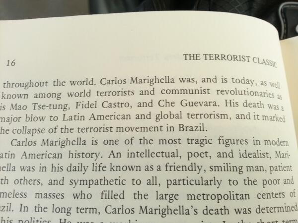 Olha como classificam Marighella na introducao da versao em Ingles do seu livro Manual da Guerrilha Urbana http://t.co/fkRNeganmG