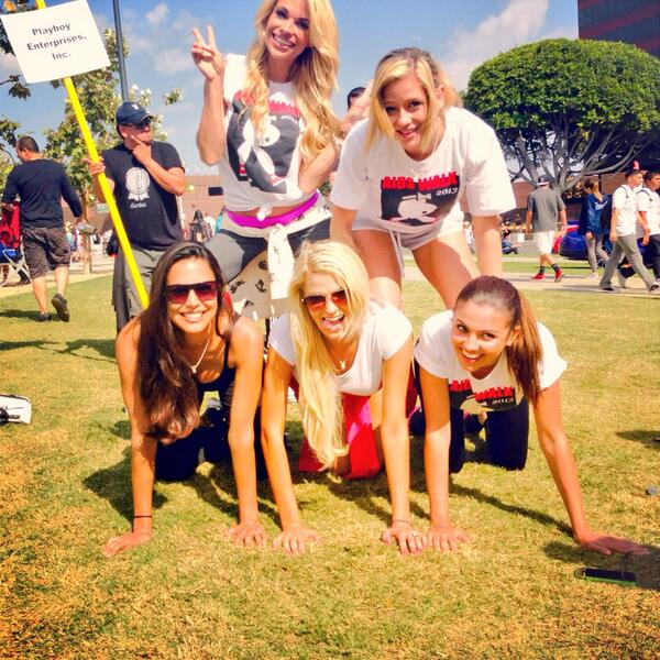 Playmate pyramid! Threw in a little Cybergirl too? #AIDSWalkLA