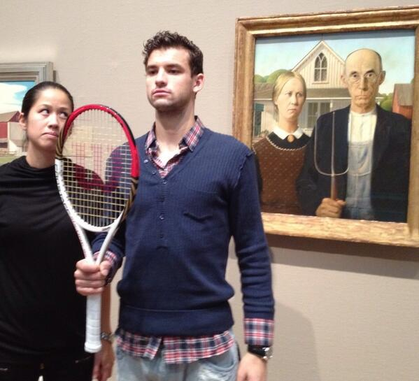 MT @TennisReporters: Tracy & Dimitrov with his Wilson Gothic Pitchfork @TracySingian  Tennis Art at its best http://t.co/8Va3uHV2Ez