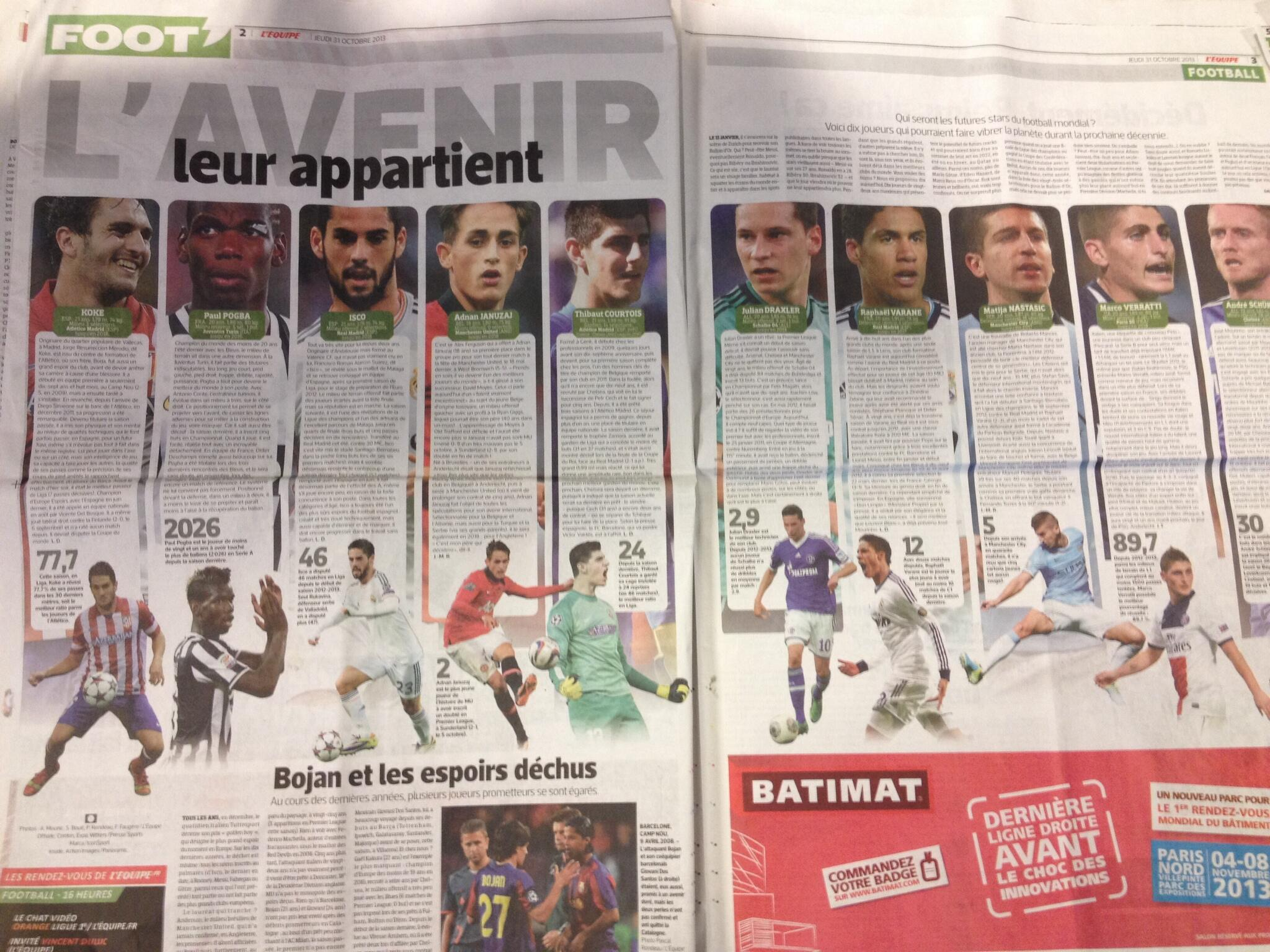 LEquipes 10 stars of tomorrow, includes Man Uniteds Januzaj, Citys Nastasic and Chelseas Courtois & Schurrle