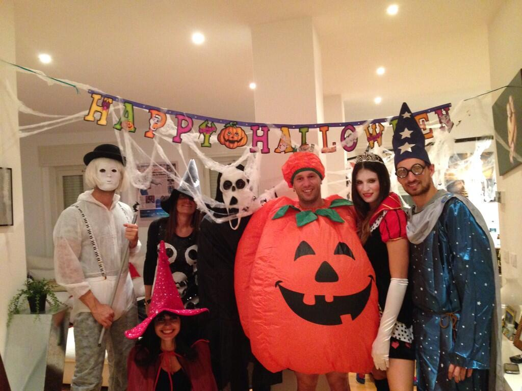 Antonio Cassano dresses up as a pumpkin with friends for Halloween