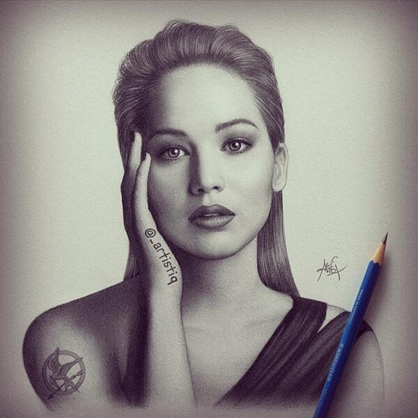 RT @_artistiq: Graphite drawing of Jennifer Lawrence. This is my new favorite! ❤️ http://t.co/SM0E6EP6Fa