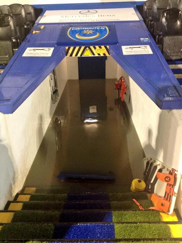 BXNR1OBCUAEyzFa Portsmouth v Wycombe called off due to torrential rain & lightning storm [Crazy video & pictures]