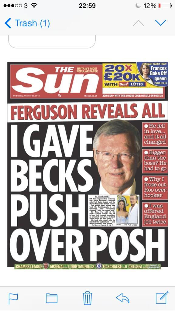 The Suns Wed front page (!): Fergie: I Gave Becks Push Over Posh