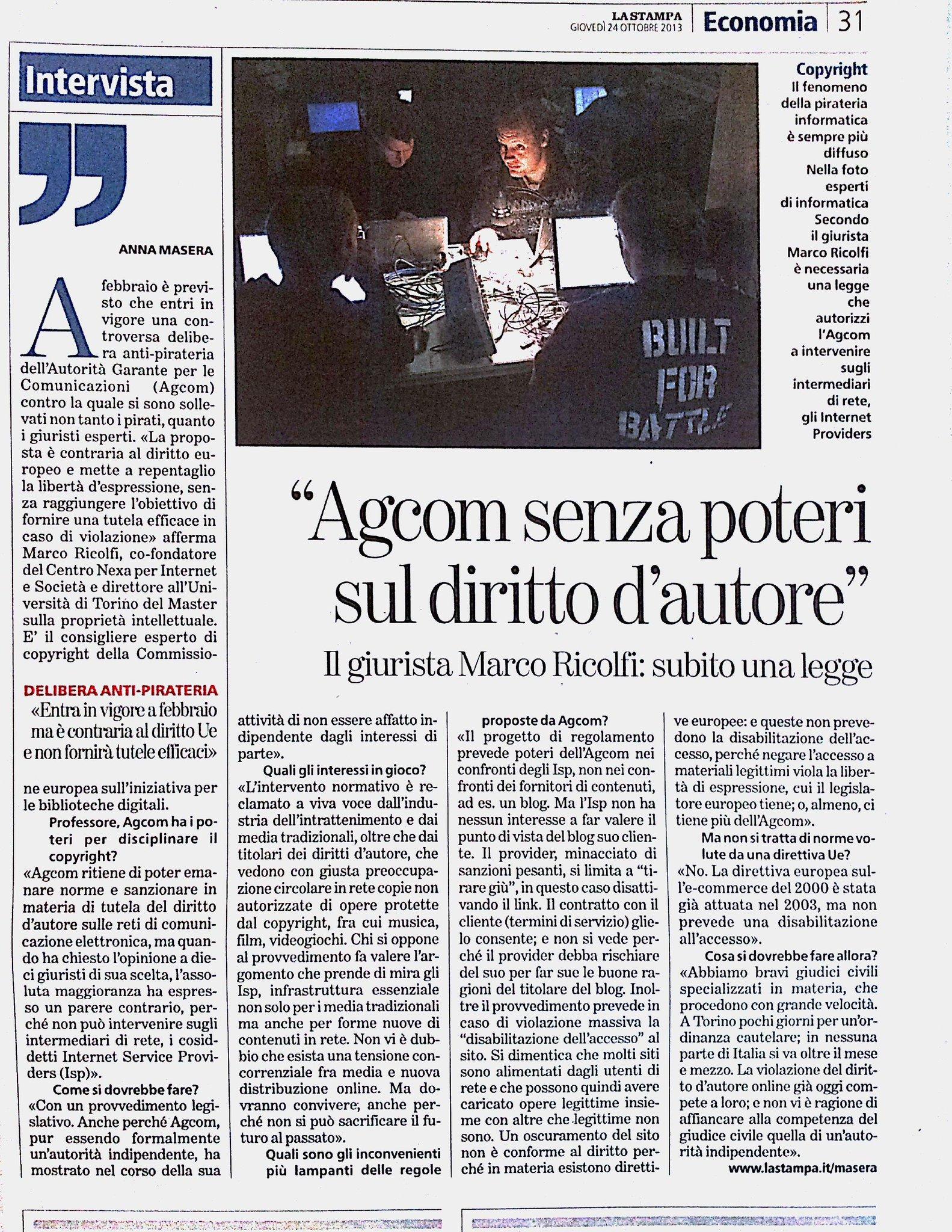 AGCOM senza poteri sul diritto d'autore. @annamasera intervista il Prof.Ricolfi. http://t.co/TmfHaHAk75