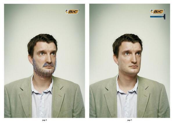 Dans un journal, #BIC parvient à communiquer, avec le même visuel, sur deux produits différents. (via @julienfabro) http://t.co/YnzcM3jjfM