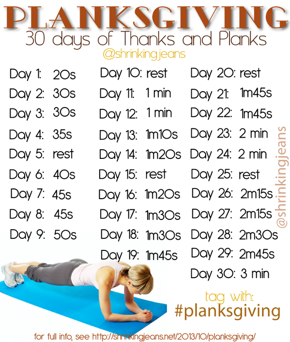 Planksgiving 30 Days of Thanks and Planks workout calendar http://t.co/R7cIoPmNAH Who's in? #planksgiving #fitness http://t.co/D5OpL4pa3n