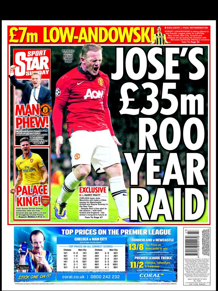 Chelsea will bid £35m for Man Uniteds Wayne Rooney in January [Sunday Star, Exclusive]