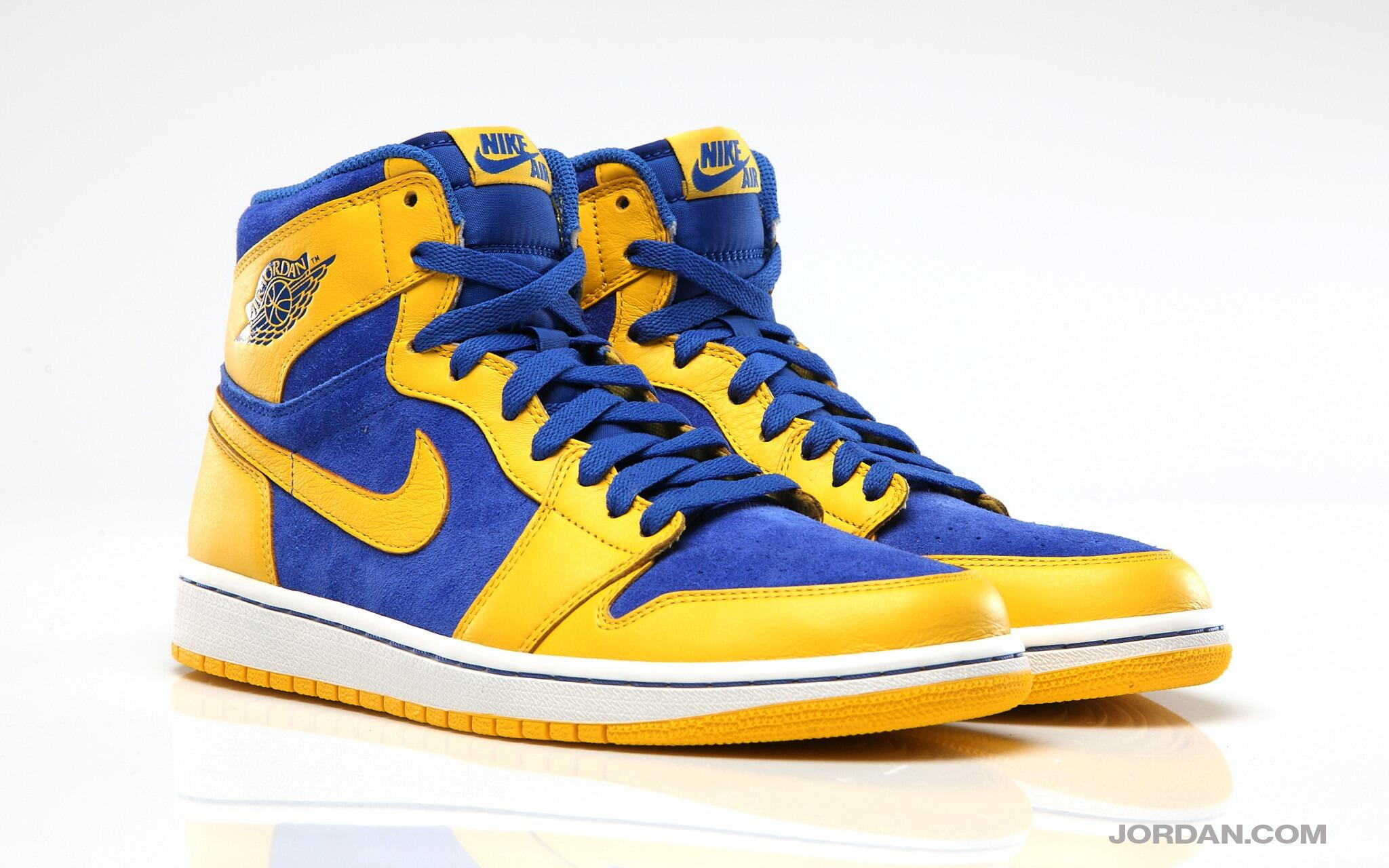 Saturday's OG drop takes the AJ1 Retro High back to school with a Laney-inspired mix of Varsity Maize and Game Royal. http://t.co/pLcfNrNOCa