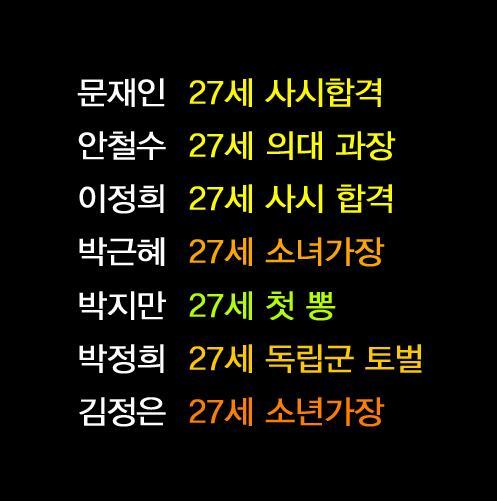 지만이 첫뽕은 뭐지? RT @cenjust: 대한민국 리더들의 27세. http://t.co/An55ZP0CI1