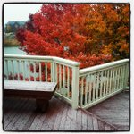 The last of fall...and the beginning of winter. first snowfall of the season on my house deck #michiganwinters