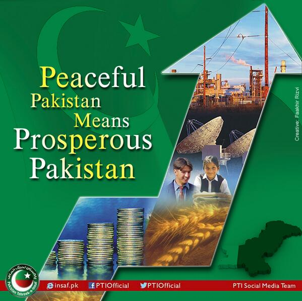 Peaceful #Pakistan is #Prosperous Pakistan. #PTIforPeace http://t.co/z3U3oug2N8