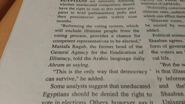 An opinion unfortunately shared by many intellectuals.. R @zalali From an actual newspaper in #Egypt two days ago. http://t.co/TK89vET4Lh