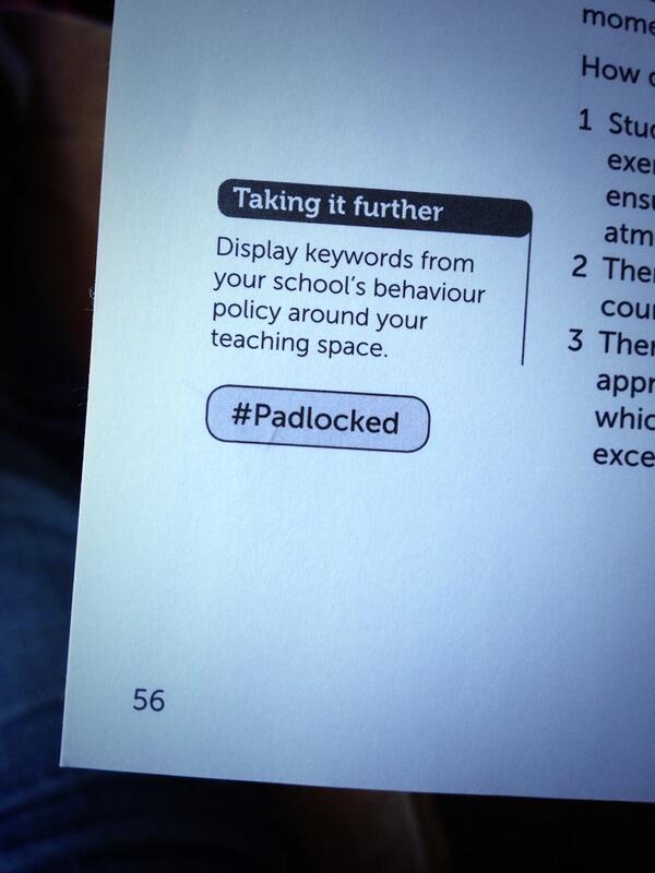 Get ready for tomorrow with @TeacherToolkit: #100Ideas for #Behaviour.   Idea no. 43 #Padlocked: Taking it Further. http://t.co/BZprjA0FQI