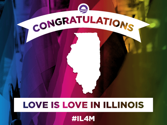 It's official: Marriage equality is coming to Illinois. #LoveIsLove http://t.co/uAL0UhpCbA