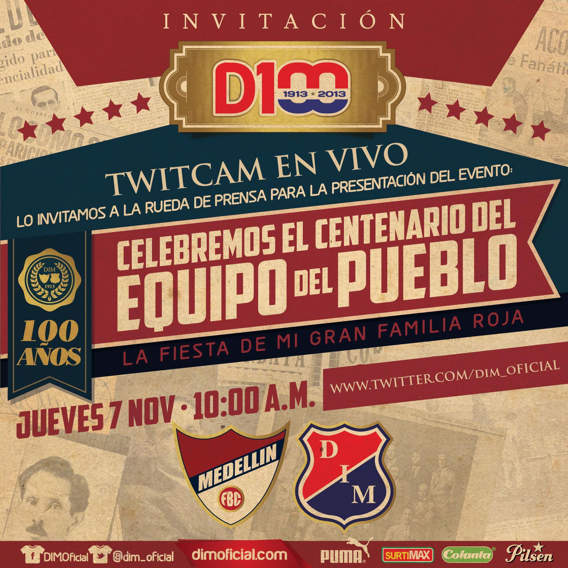 Mañana en vivo por twitcam la presentación del evento #FiestaCentenariaDIM. Hora: 10:00 a.m. http://t.co/5rU0dlLAIF