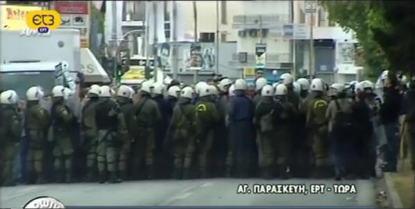 Theodora Oikonomides (@IrateGreek): Democracy & freedom of the press, Greek style. Pic via @vanzigard http://t.co/WtQBLUu5S2 #Greece #ert