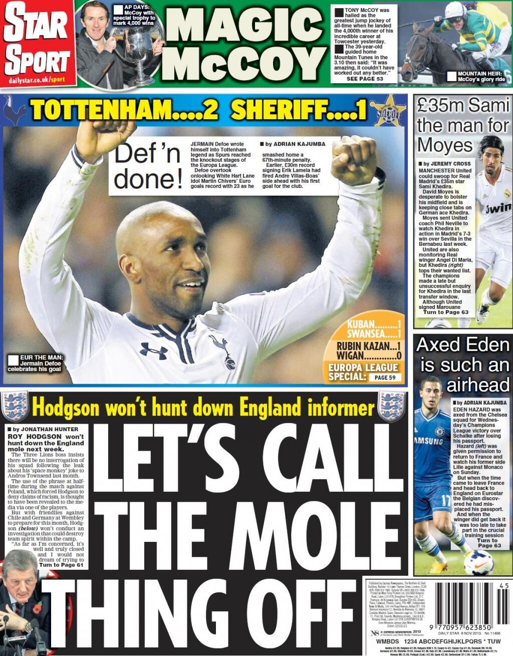 Friday Star Sport: Lets Call The Mole Thing Off, Hodgson wont hunt down informer