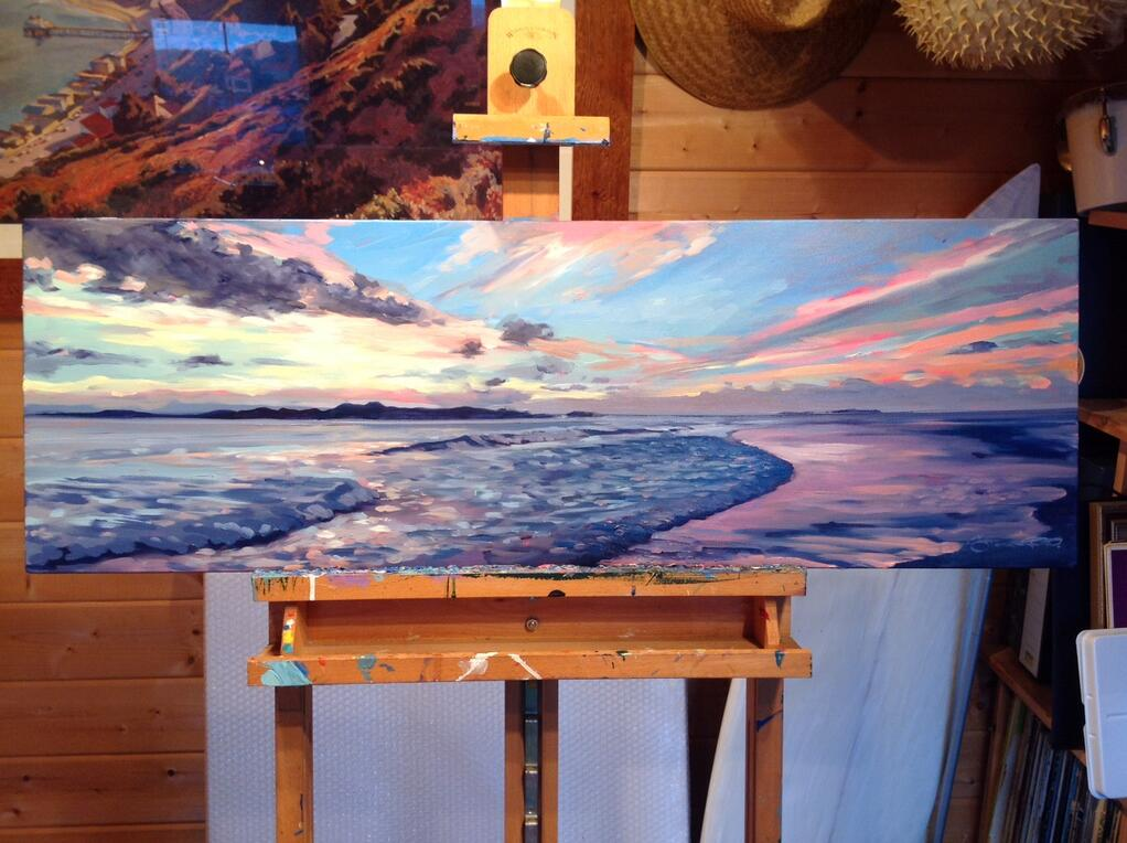 """""""Honeymoon """" the finished painting 30 x 12 inches #oilpainting #fineart #sunset #stevepp http://t.co/W1LW5QVRh9"""