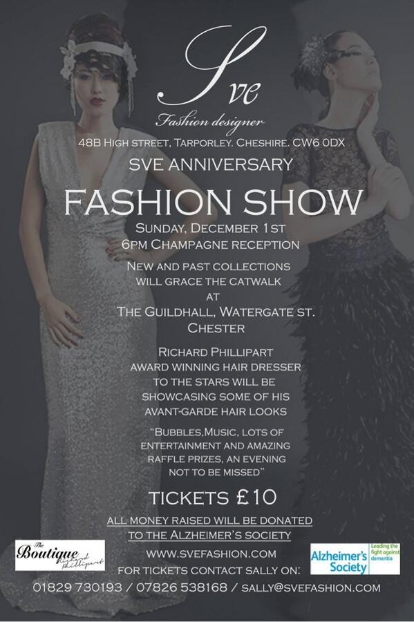 @LaVidaMagazine @sveme #fashionshow #chester #anniversary  #Support#Alzheimers tickets call 01829730193 for tickets http://t.co/iLuKC26MvW