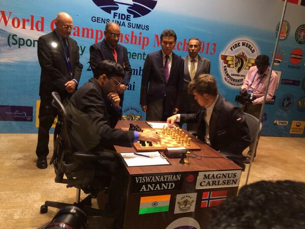 Chennai ,India today.The first game of WCC match Carlsen-Anand just started! http://t.co/29h74kPiq7