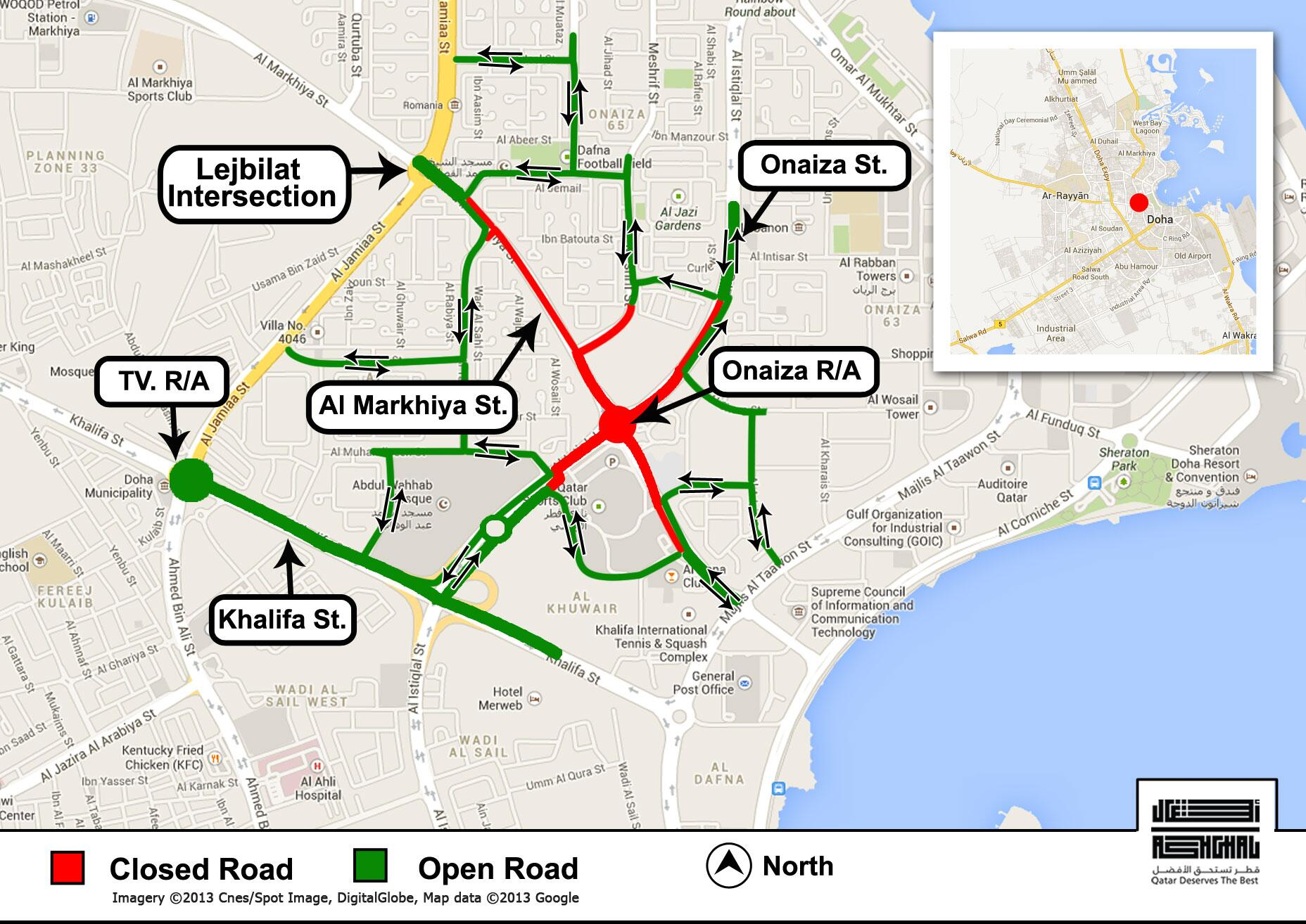 RT @AshghalQatar: As of Sunday Nov 10th traffic at Onaiza R/A will be diverted to the roads highlighted in green on the attached map http://t.co/7wQXTimc3M