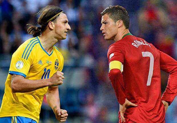 Swedia vs Portugal. Ibrahimovic vs Cristiano. Akan saling bunuh pada 15 dan 19 November. Seruuuu! #VivaRonaldo http://t.co/U423ci3ZMo