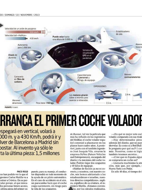 RT @Cronica_ElMundo: @Cronica_ElMundo Vean la gran infografia del coche volador del ingeniero Mantilla, como de Blade Runner http://t.co/l9flkURGNP