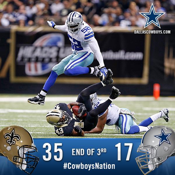 End of the 3rd quarter: Cowboys 17, Saints 35. #CowboysNation http://t.co/gHSwLiQxbN