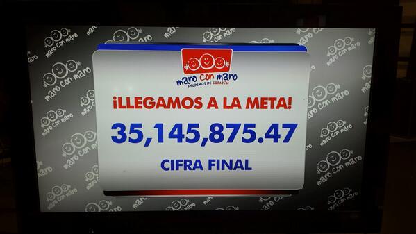 Alhinna Vargas (@AlhinnaVargas): Gracias a usted y a su generosidad, lo hemos logrado. #ManoConMano @multimediostv @fundacionMMAC @caritasmty http://t.co/v2uipjqzMm