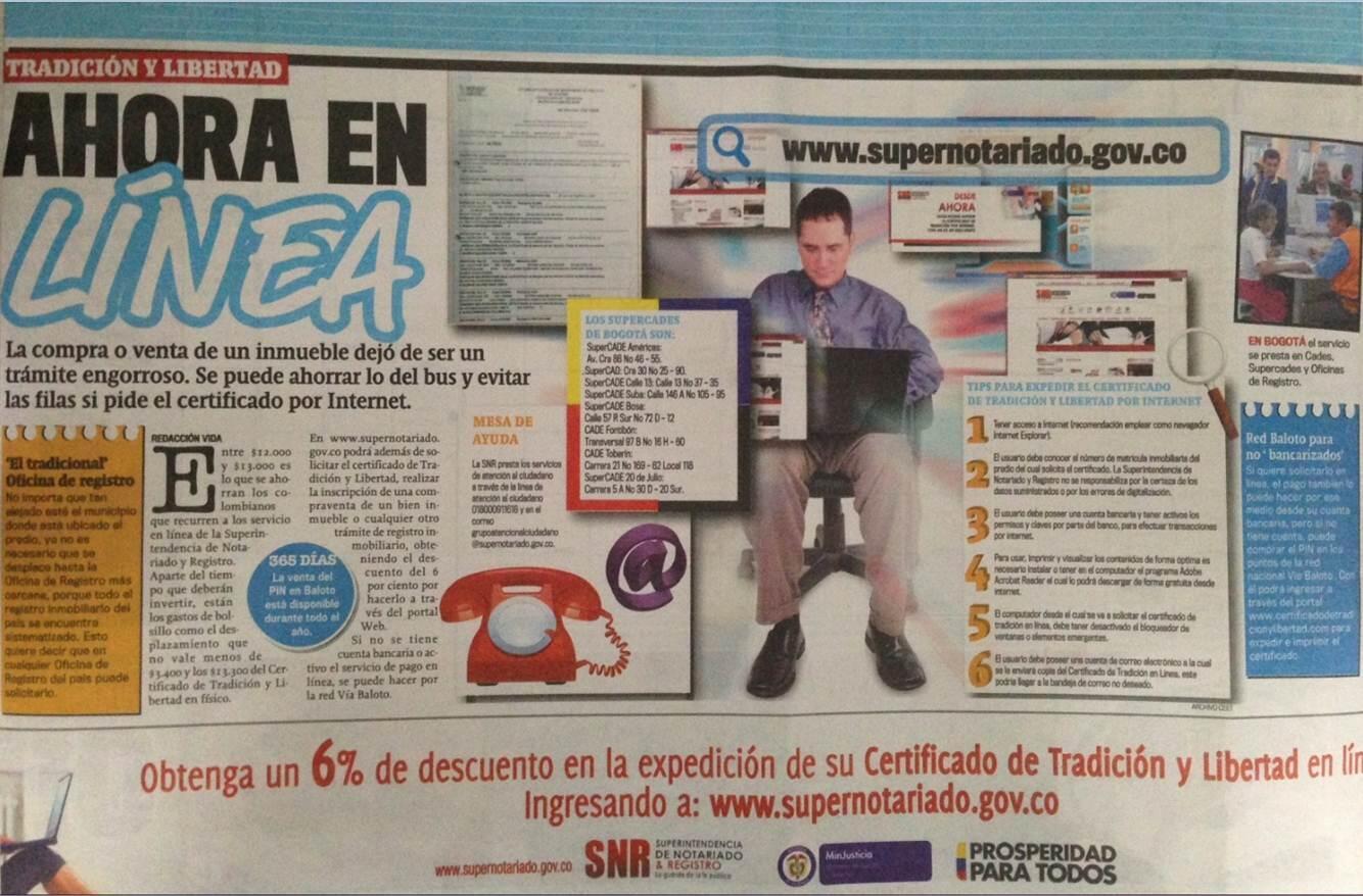 [NOTICIA] CERTIFICADO DE TRADICIÓN Y LIBERTAD AHORA EN LÍNEA http://t.co/vYX455JsIJ