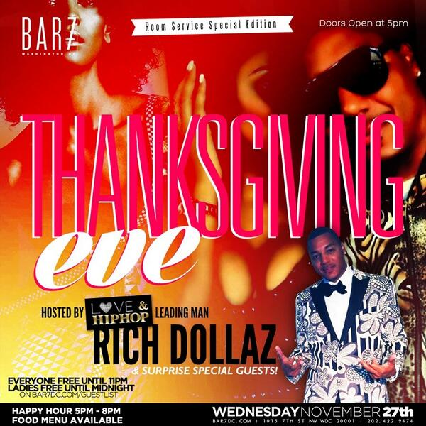 creme of Dc (@cremeDc): WED THANKSGIVING EVE! @Bar7dc Hosted By #LOVENHIPHOPNY @RICHDOLLAZ! HAPPY HOUR STARTS 5PM! TABLE 301.312.0976 http://t.co/rk1zlFO8S9