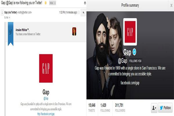 POWER OF SOCIAL MEDIA: Racists vandalize @GAP ad with Sikh model...GAP responds by changing Twitter pic to Sikh model http://t.co/VsImrqbJat