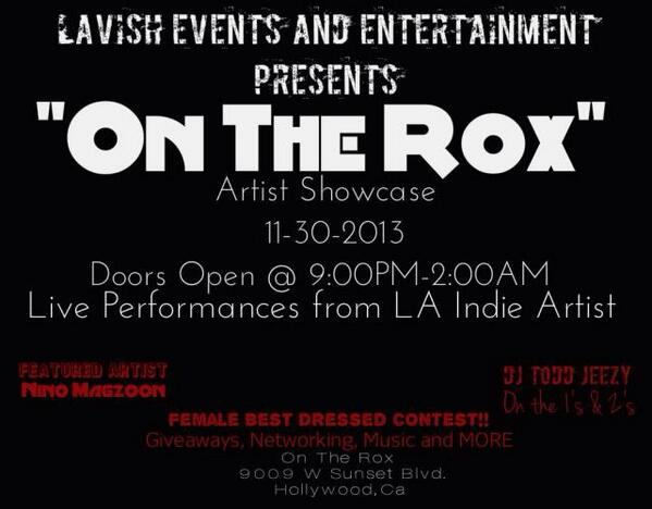 """#newevent """"On the rox"""" artist showcase"""" performances by @ThisIsJQuest @IamPicclo @tehrimusic  @IzovaMusic & more http://t.co/zWUzG1h7j2"""