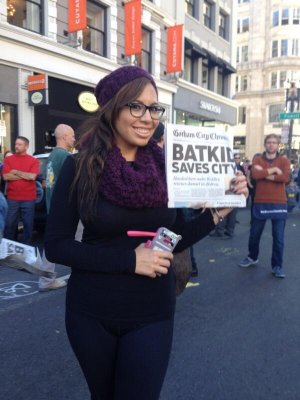 "Practically mobbed in Union Square giving out these, yelling ""Extra!Read all about it! #Batkid saves city!"" http://t.co/R7Qr487dAo"
