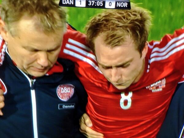 BZIjcgcCQAA0WOr Tottenhams Christian Eriksen subbed off badly injured in Denmarks friendly with Norway [Pictures]