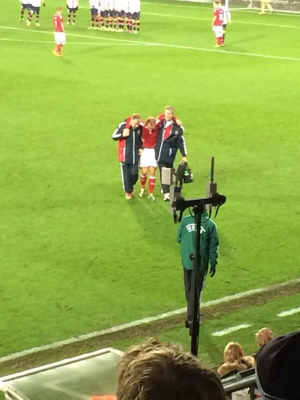 BZIokYmIYAEQMLS Tottenhams Christian Eriksen subbed off badly injured in Denmarks friendly with Norway [Pictures]