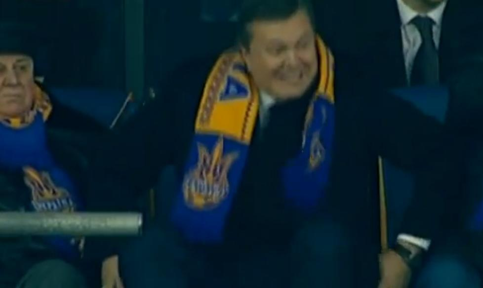 Time to diet? Ukraine president Yanukovych got stuck in his seat as he tried to celebrate a penalty v France