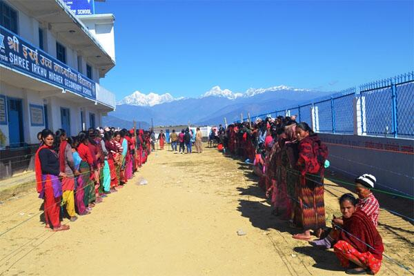 Polling in Nepal, mountains in the background (picture: Dhruba Dangal)