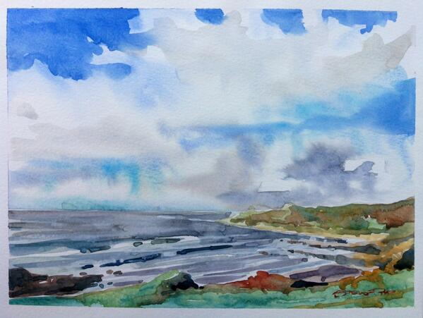 """""""Fresh Sea Air"""" twelve bays of Christmas number two, sold today, thank you! #watercolour #stevepp #woolacombe #art http://t.co/ZSqCnohQJs"""
