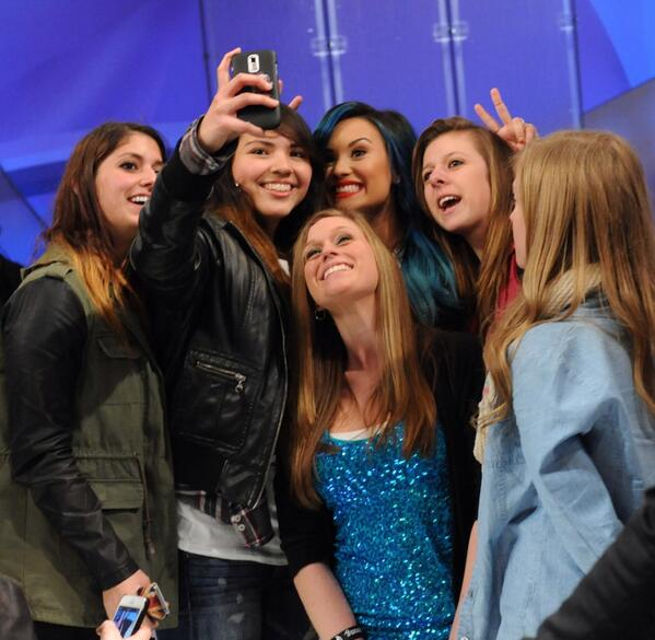 Katie  (@KatieShow): Selfie may be the word of the year but our word of the day is DEMI! @ddlovato is here today! http://t.co/dHngu1qkox http://t.co/SwOxR9XvcR